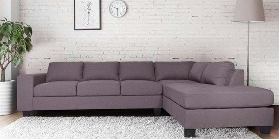 Buy Latvia Lhs Sectional Sofa In Dark Brown Colour By Evok Online