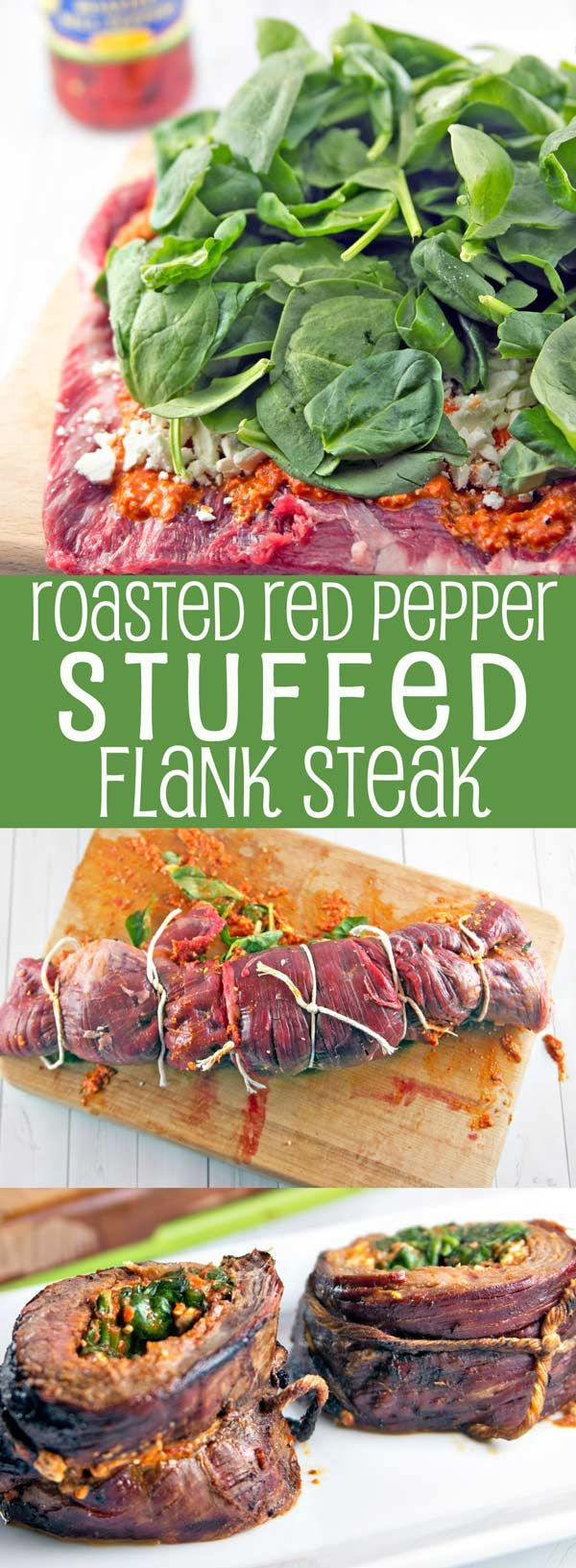 Roasted Red Pepper Stuffed Flank Steak: Stuck in a grilling rut?  Shake things up with the bold, bright flavors of a Mediterranean-inspired stuffed flank steak, starring roasted red pepper pesto, feta, and spinach. #ad https://ooh.li/21ca3ca