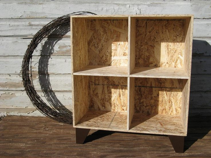 pure cowboy OSB cubby bookcase. via Etsy.