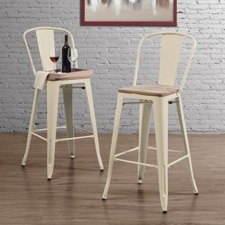 Tabouret Bistro Wood Seat Cream Bar Stools (Set of 2)