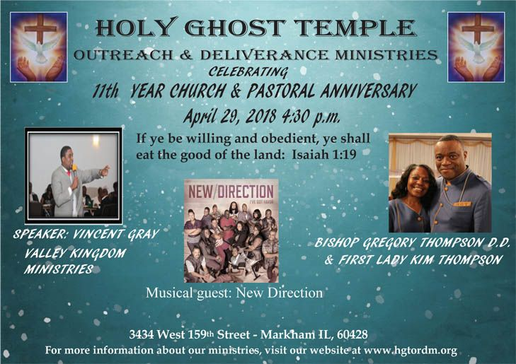 Holy Ghost Temple Outreach & Deliverance Ministries Celebrating 11th