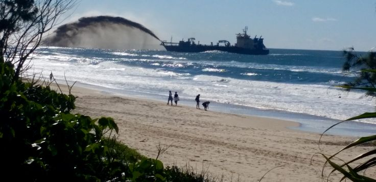 Dredge blowing sand. Gold Coast July 2017