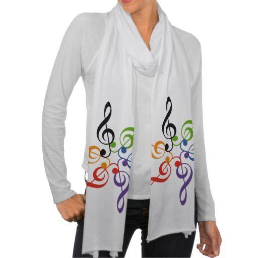 Arcoiris música clave sol. Regalos, Gifts. #scarf #bufanda
