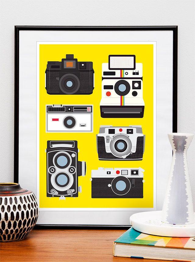 Retro Print Poster,Vintage camera, Polaroid print, holga, lomography poster,  nursery art. $45.00, via Etsy.