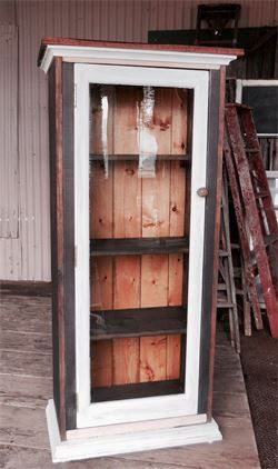 Bear River cabin Jelly cabinet 24 w x 13deep 56 tall handmade, redwood and pine