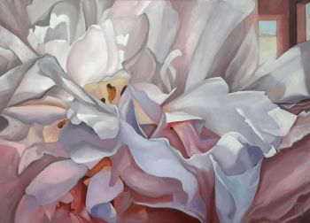 This is a vibrant, yet subtle painting of peony flowers, which take up most of the canvas. All my floral works, currentl...