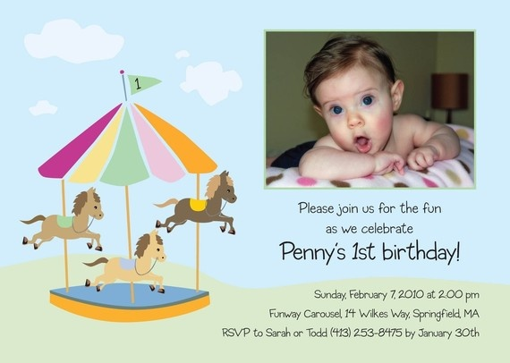 """Merry-Go-Round"" Horse Carousel Party Invitation by Paisley Prints Etc. {pony, amusement park}"