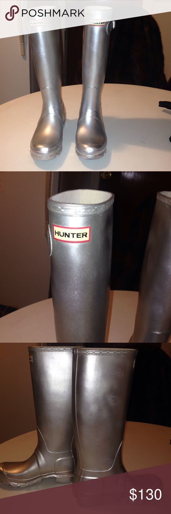 Hunter tall rain boots Metallic silver. Logo on top rim. Slight smudge near logo Good condition super cute & warm Hunter Boots Shoes Winter & Rain Boots