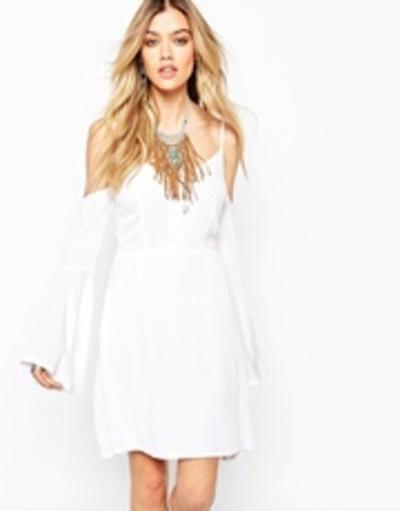 Missguided Off The Shoulder Boho Skater Dress - White #a-linedress #offduty #women #covetme