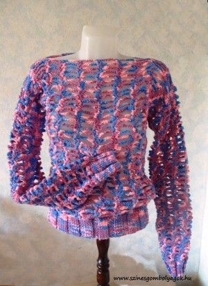 Horgolt pulóver vastag fonálból