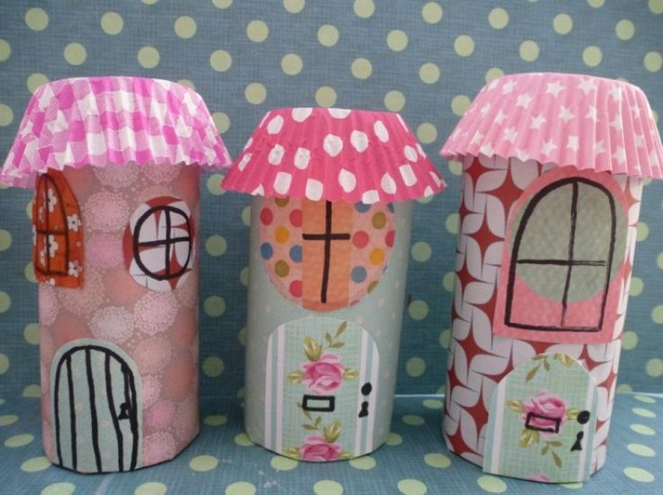 Fairy houses crafted from inner tubes of loo rolls