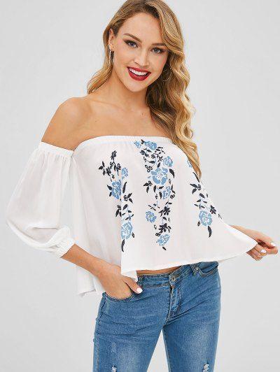 71b4881b05b Chiffon Floral Off Shoulder Blouse - Milk White L