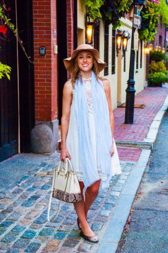 White lace dress from Lookbook Store, scarf from Gap, felt hat from Marshall's, Michael Kors Sutton Satchel, #Tieks in Lovestruck - Austin fashion blog