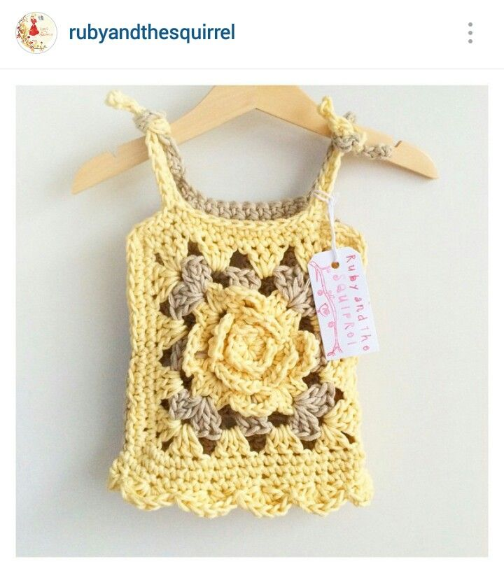 Instagram @rubyandthesquirrel - crochet baby girl rose granny stitch motif top (front side)