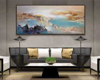 Abstract Painting, Art, Original painting, extra large wall art, Landscape oil painting blue painting, large canvas art, paintings on canvas
