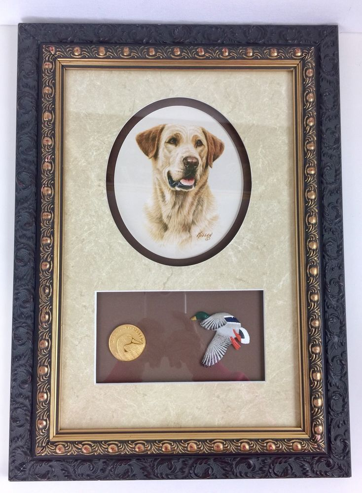 James H Killen Ducks Unlimited Golden Lab Print Framed and Matted with Medallion #Americana