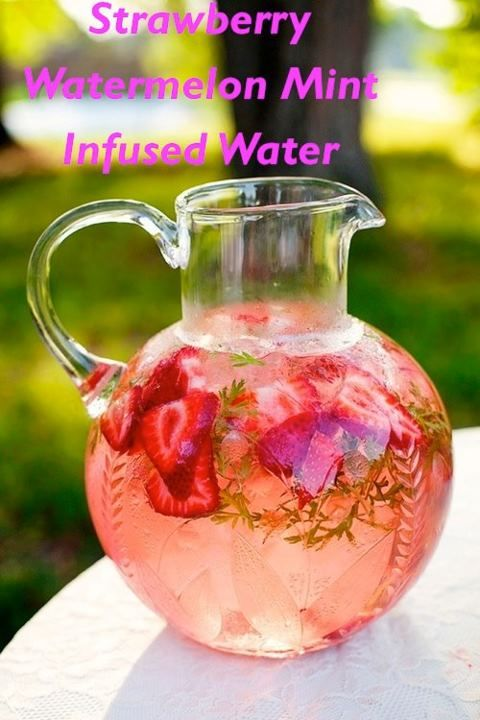 Strawberry watermelon mint infused water -  This is a healthy refreshing drink and its packed with antioxidants Ingredients: 10 large strawberries ½ cup of sliced watermelon ¼ cup of mint leaves 6 cups of water Ice Instructions: Fill the bottom of a pitcher with the ice cubes and top it with strawberries, watermelon and mint leaves. Fill the rest of the way with filtered water and let it cool.