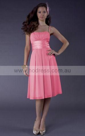 Sleeveless Zipper Spaghetti Straps Knee-length Chiffon Evening Dresses dt00382--Hodress