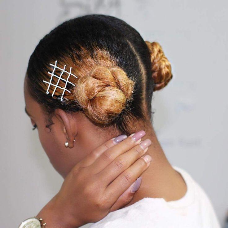 Bobby pins + buns   Natural hair styles