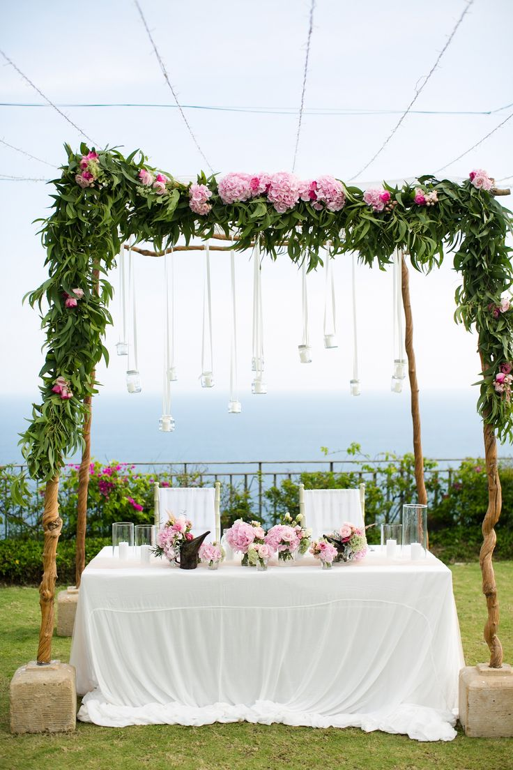 Bridal Table adorned with fresh foliage and flower