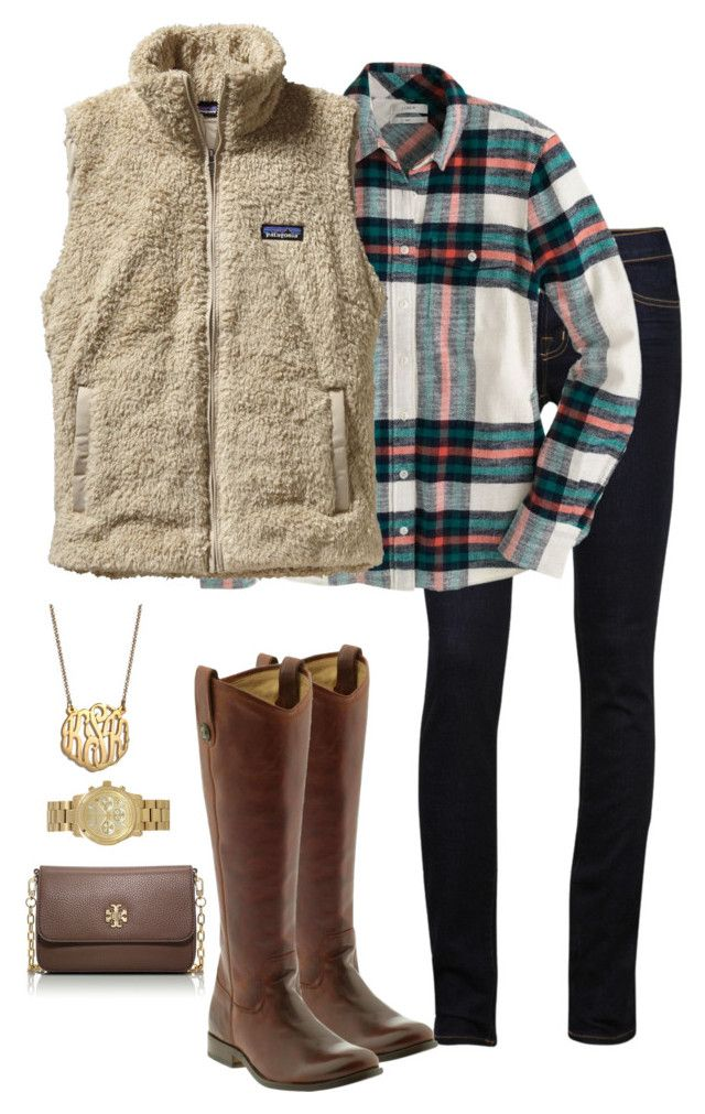 """So excited for fall clothes"" by ragt ❤ liked on Polyvore featuring J Brand, J.Crew, Patagonia, Frye, Michael Kors, BaubleBar and Tory Burch"