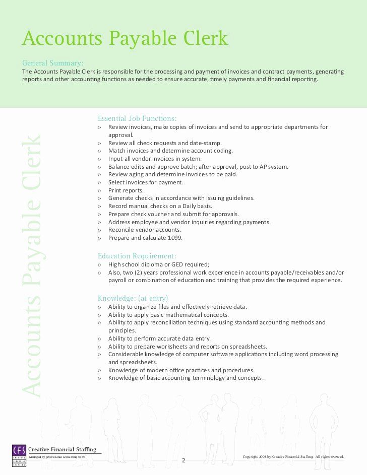 Account payable job description resume elegant accounting