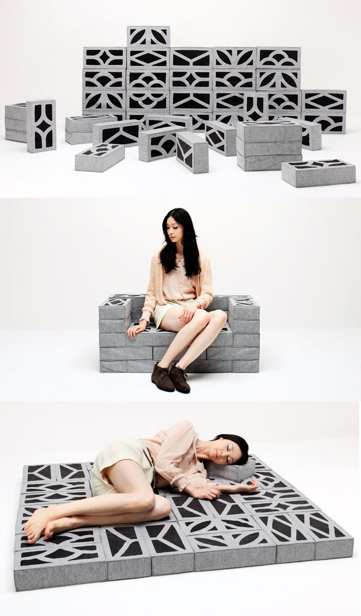 The Japanese studio Torafu Architects designed Soft Block as part of DesignTide Tokyo 2011. Using Fine Revo, a special material used in bedding products, they created soft cushions inspired by concrete block found in typical Japanese neighborhoods. The modular pieces can be composed into a variety of configurations.