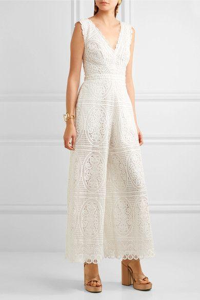 Weiße Guipure-Spitze  Verdeckter Haken und Reißverschluss hinten  100 % Polyester; Futter: 100 % Baumwolle  Trockenreinigung