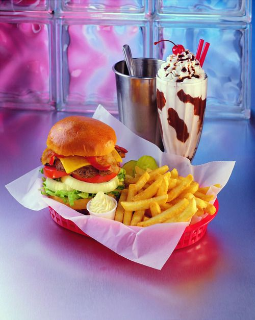 american food, diner food, cheeseburger, fries, milkshake, yum,