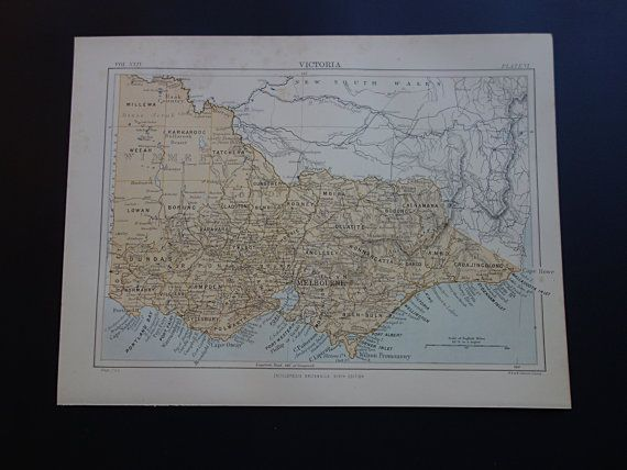VICTORIA antique map  1888 original old by DecorativePrints