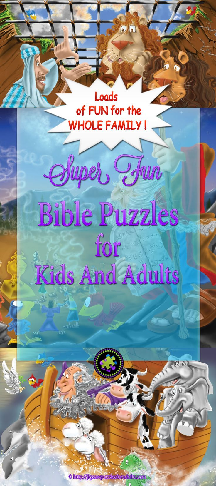 Bible puzzles kids and adults can work on together. You'll find plenty of Bible puzzles kids will have loads of fun putting together and it's a fantastic way for kids and adults to have quality time together.This is a great opportunity to have fun doing a jigsaw puzzle and learning at the same time!