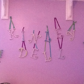 A creative way to display your baby's name with pretty letters, ribbon and paint from Michael's!  Have fun!Teachers Friends, Baby Names, Have Fun, Pretty Letters