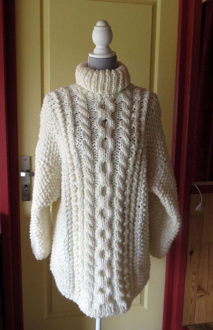 Pull irlandais écru en grosse laine à col roulé