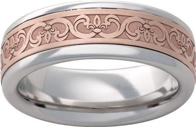 Vitalium Metal Band with a 14k Gold In-Lay and Scroll Design - Available at Martin Jewelry at Westroads Mall in Omaha, NE.  402-397-3771.  www.martinjewelry.net.