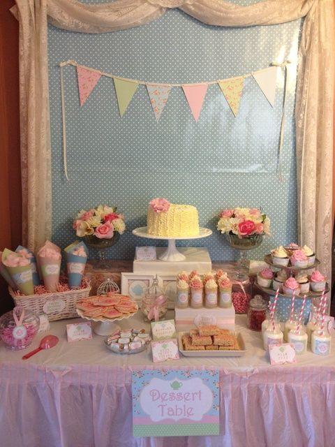 Photo 9 of 13: Vintage shabby chic tea party / Birthday Vintage Tea, Im 3! | Catch My Party
