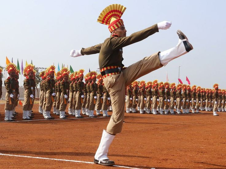 India's Central Armed Police Forces' perform during the passing out parade at their training headquarters near Bhopal, India on Jan. 3, 2014.