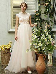LAN TING BRIDE Linea-A Vestito da sposa - Moderno Nerissimo Strascico a terra Collo alto Tulle conPerline Con fiocco Fiore decorativo