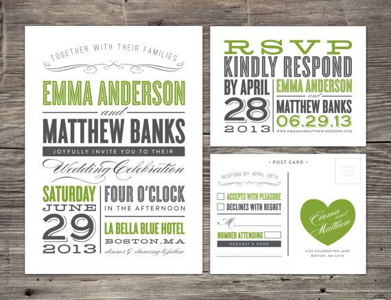 Old Fashioned Wedding Invitation & RSVP by fineanddandypaperie, $35.00
