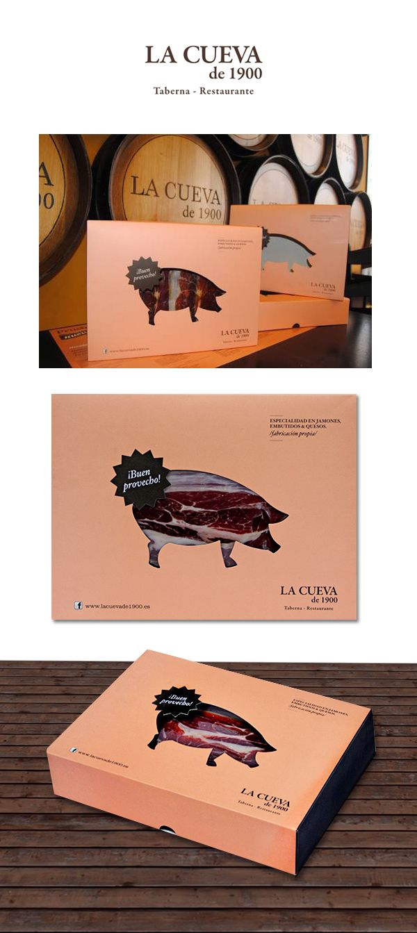 """Packaging for La Cueva de 1900. It is a very popular spanish restaurant for tapas.You can also order cold meat for taking away. We decided to use the icon """"the pork"""" as a part of the pack."""