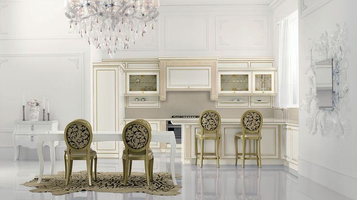 MIRABEAU - L'estetica del lusso incontra la funzionalità del presente. Mirabeau reinterpreta la ricchezza ornamentale dei fregi settecenteschi. Il bianco e il nero sono impreziositi da intarsi nei colori oro e argento, che conferiscono ulteriore pregio al motivo decorativo dell'anta. http://www.venetacucine.com/ita/cucine/e/mirabeau.php