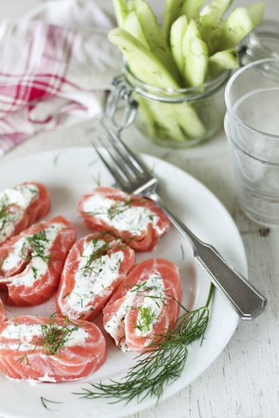 Finnish flavors - salmon and quick picled cucumbers