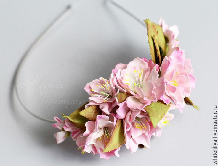 Ободок с цветами яблони из фоамирана - бледно-розовый,фоамиран,фоам,ободок с цветами