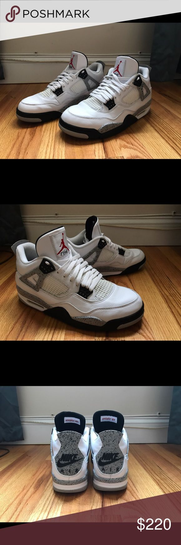 Nike Retro Jordan Cement 4's From the most recent release. They were previously worn about 3 times. Still in excellent condition. Comes with a box but not the original. Nike Shoes Sneakers