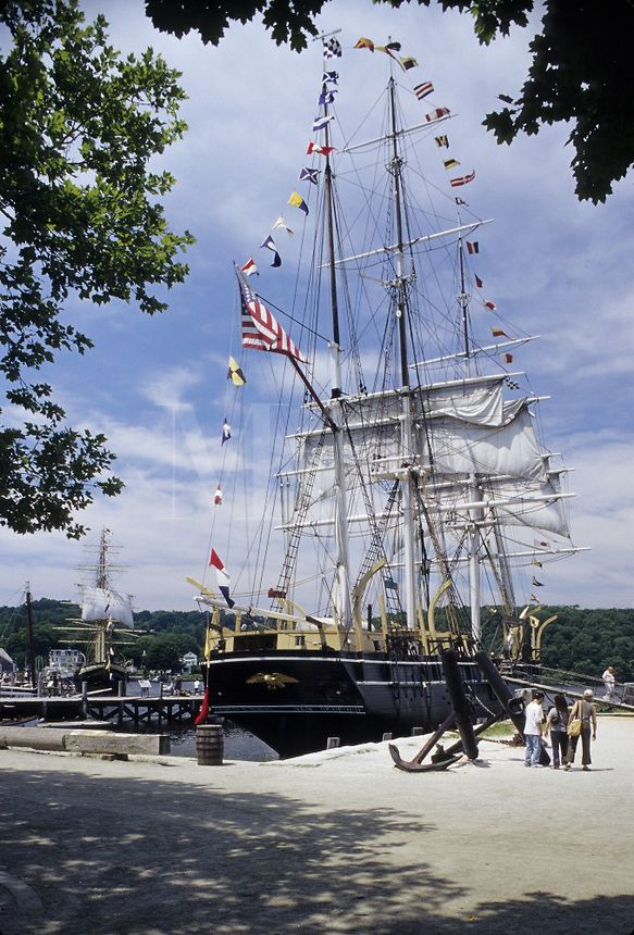 The whaling ship Charles W. Morgan at Mystic Seaport in Mystic CT