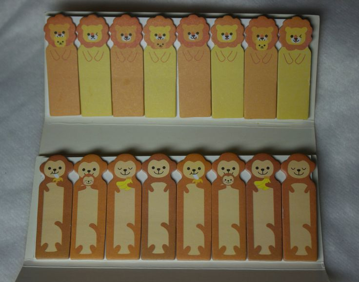 Kawaii Sticky notes - Kawaii Post It Notes - Planner Supplies - Page flags - Page Markers - Lion Page Flags - Monkey Page Flags - animal by FadedTwistedWings on Etsy