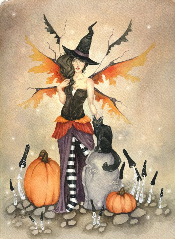 Fantasy Fine Art Print - 5x7 - Witch Faery - whimsical, halloween, pumpkin, black cat, fairy, illustration, october. $10.00, via Etsy.