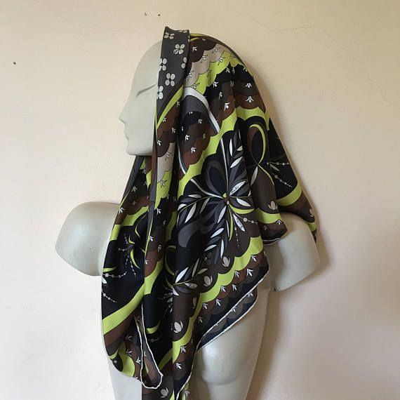 Emilio Pucci vintage 70's scarf pure silk floral