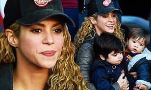 The 38-year-old singer brought her two adorable sons with FC Barcelona star Gerard Piqué, 28, both clad in team kit - to watch his side take on Real Sociedad.