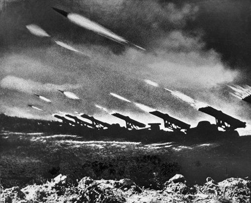 historicaltimes:  Katyusha Rocket Barrage, Operation Bagration - Belorussia, June 22nd 1944