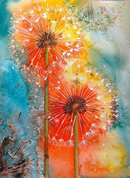 Dandelion painting idea. Love the colors. This painting is both soft and bright.